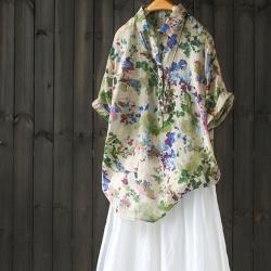 寬鬆人棉印花短袖襯衫碎花薄襯衣套頭上衣-設計所在