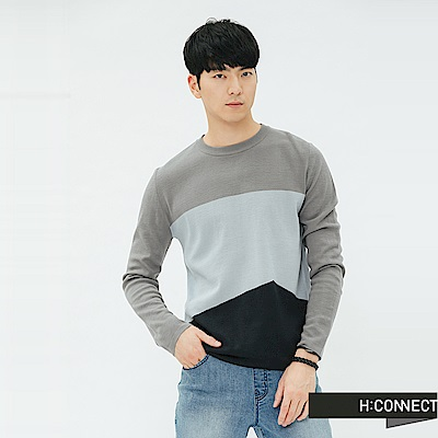 H:CONNECT 韓國品牌 男裝-拼接撞色細針織上衣-灰