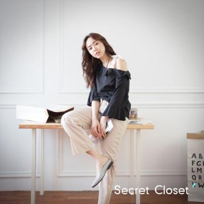 Secret Closet-荷葉蕾絲綁繩帶上衣-黑色