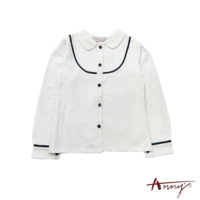 Annys氣質公主U型打摺格紋線條包釦百搭棉質舒適襯衫*9246白