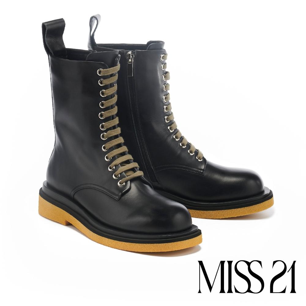 短靴 MISS 21 街頭帥氣步調牛皮綁帶厚底馬丁短靴-黑