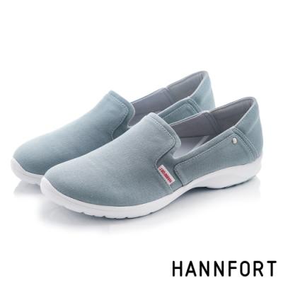 HANNFORT EASY WALK簡約帆布氣墊健走鞋-女-藍