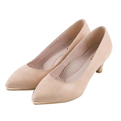 BESO知性風尚 金屬微尖頭跟鞋~卡其
