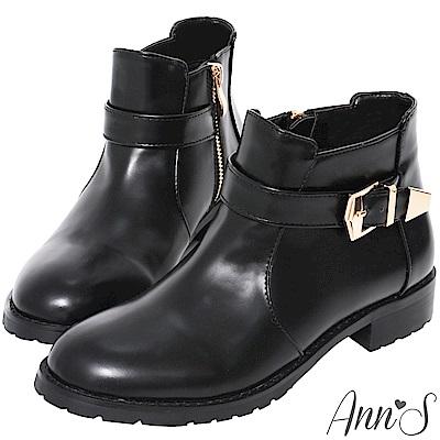 Ann'S秋冬基本款-份量金釦帶超短筒平底短靴-黑(版型偏小)