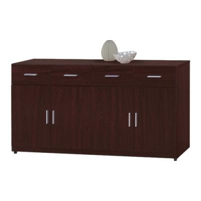 柏蒂家居-伯納德5.3尺四門四抽餐櫃/收納置物櫃-胡桃色-160x43x82cm