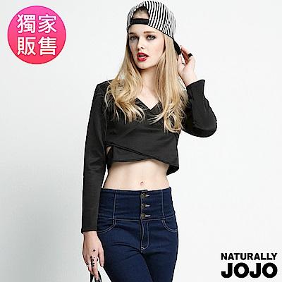 【NATURALLY JOJO】側挖洞短版上衣(黑)