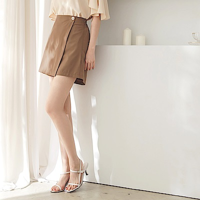 純色不易皺後腰鬆緊單釦修身A字短褲/裙-OB大尺碼
