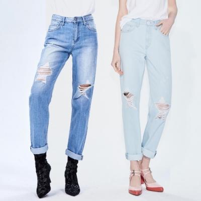 [時時樂限定]BRAPPERS 女款 星星割破寬版直筒褲(二色選)
