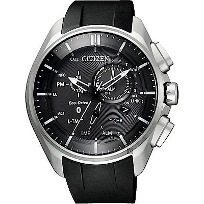 CITIZEN 星辰 限量 鈦 光動能藍芽手錶-黑/48mm(BZ1040-09E)