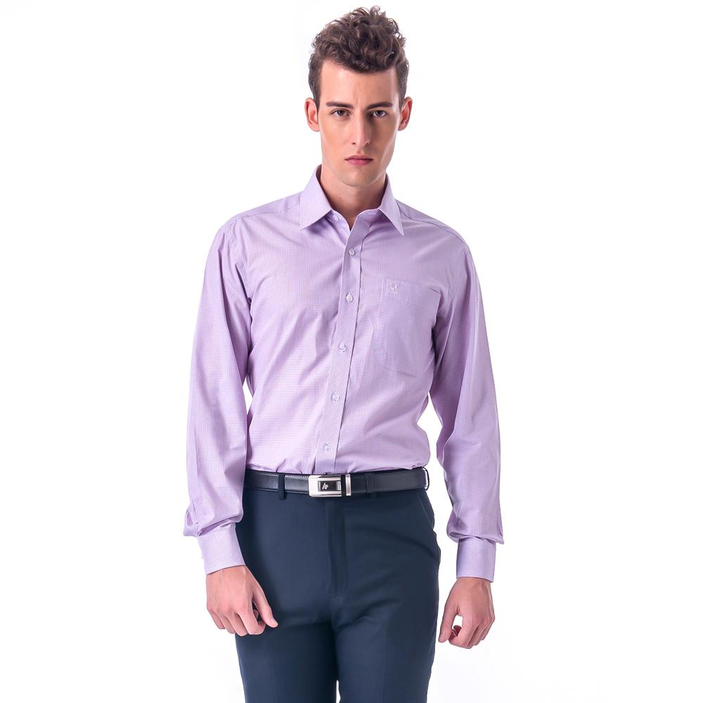 金‧安德森 紅x藍細格紋窄版長袖襯衫fast