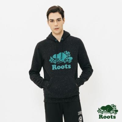 男裝Roots-雪迪斯結粒沙刷毛連帽上衣-黑