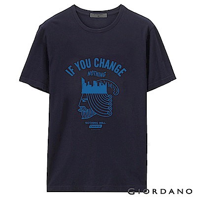 GIORDANO 男裝棉質標語印花短袖T恤-55 標誌海軍藍