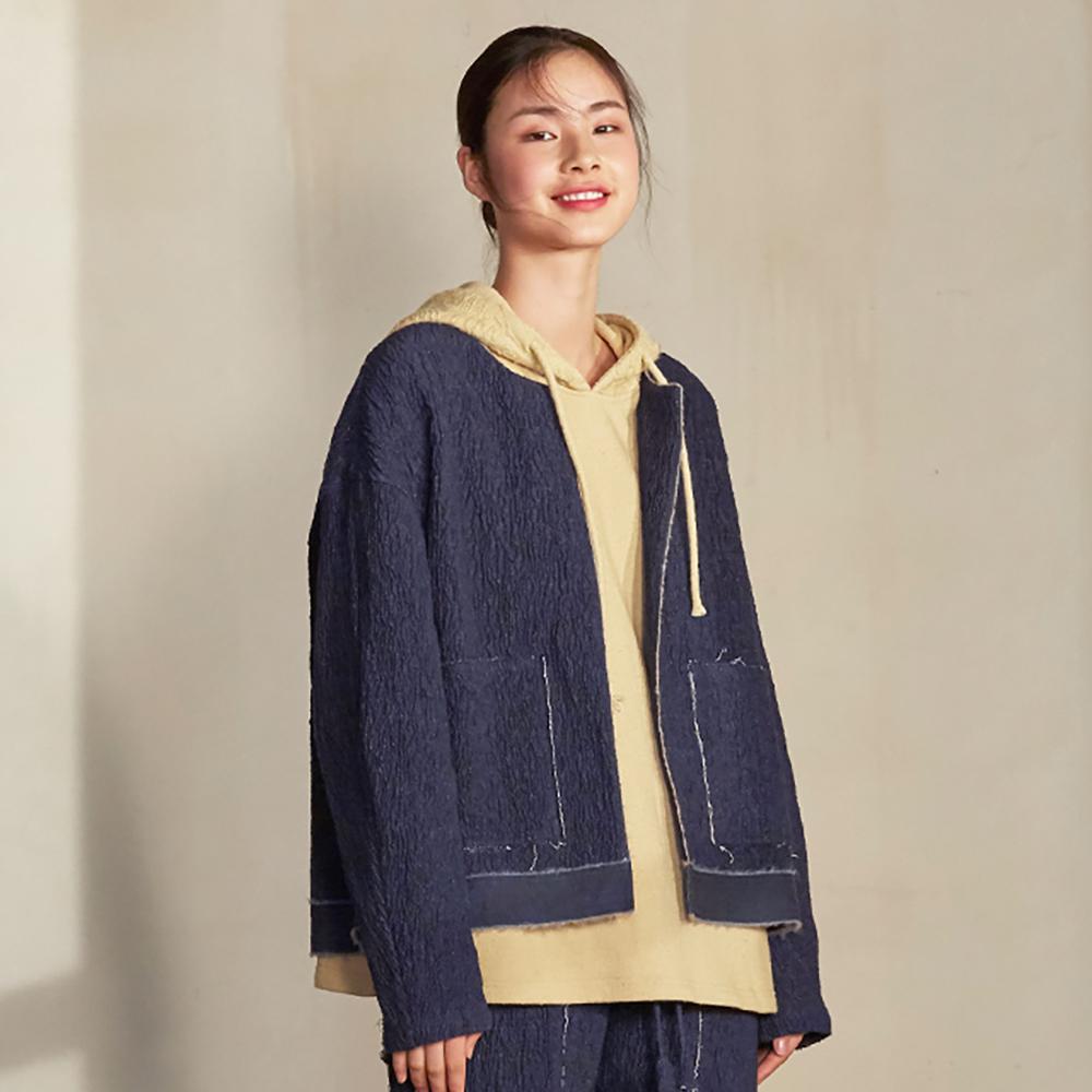旅途原品_皺頁_原創設計毛邊肌理棉麻夾克-藏青色