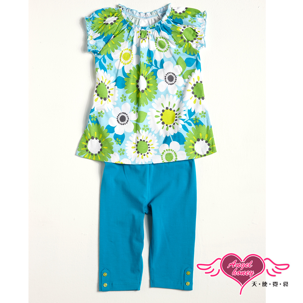 【天使霓裳-童裝】沁藍花朵 兒童短袖長褲兩件組套裝(藍)