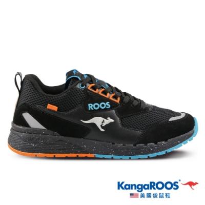 KangaROOS 美國袋鼠鞋 男 DISCOVERY 銀河復古跑鞋/慢跑鞋/休閒鞋/運動鞋(黑/橘-KM11170)