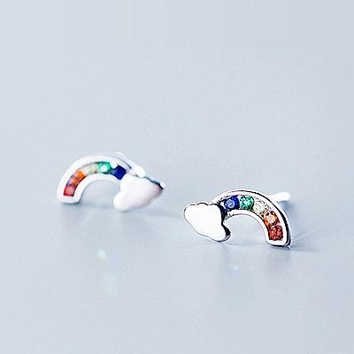 梨花HaNA  韓國925銀下雨過後的彩虹小巧耳環