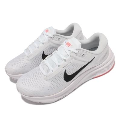 Nike 慢跑鞋 Zoom Structure 24 女鞋 輕量 透氣 舒適 避震 路跑 健身 白 黑 DA8570-100