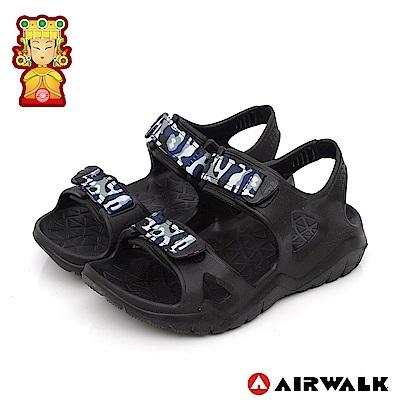 【AIRWALK】減壓緩震輕量休閒涼鞋-童款-黑色