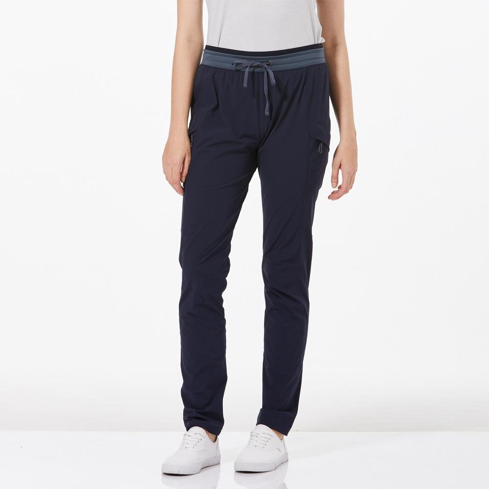 【HAKERS 哈克士】女 快乾彈性修身長褲-海軍藍