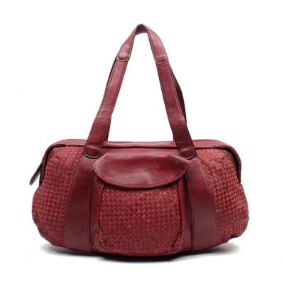 OMDI 經典牛皮編織長提包(紅色)