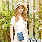 KINAZ 清秀身影鏈帶斜背包-古典藍-常春藤系列