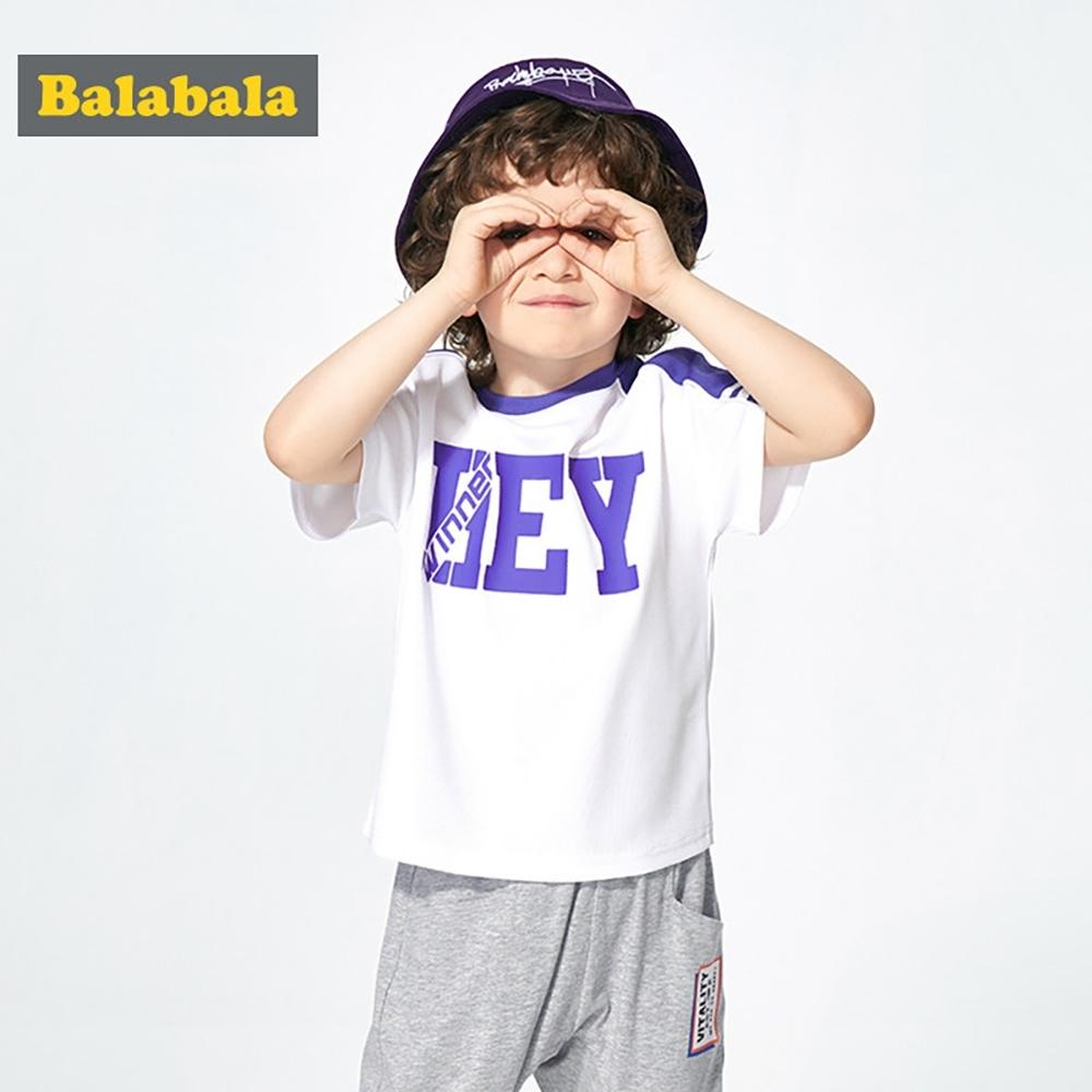 Balabala巴拉巴拉-運動風格字母透氣短袖T恤-男