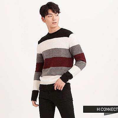 H:CONNECT 韓國品牌 男裝 - 跳色橫紋針織毛衣-黑(快)