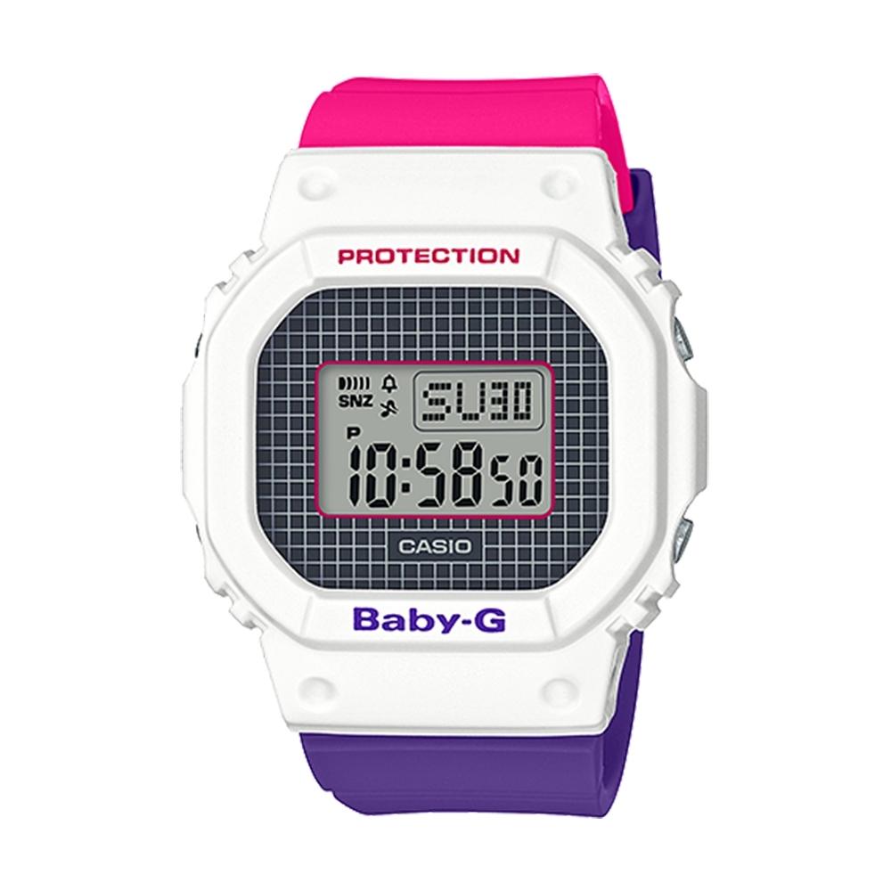 CASIO卡西歐BABY-G格紋線條搭配復古桃紅腕錶(BGD-560THB-7)