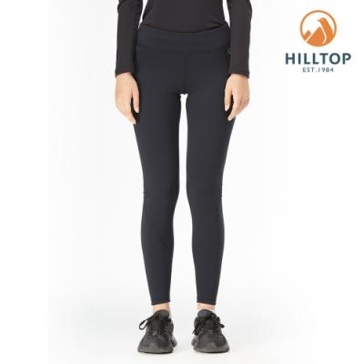 【hilltop山頂鳥】女款POLYGIENE抗菌吸濕快乾保暖彈性緊身長褲H31FN1黑美人