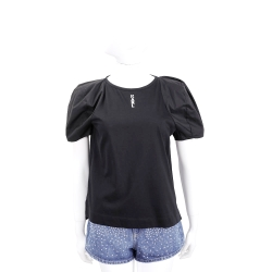 KARL LAGERFELD Logo 字母黑色微澎袖棉質T恤