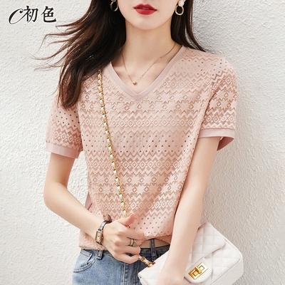初色  氣質刺繡蕾絲上衣-粉紅色-(M-2XL可選)