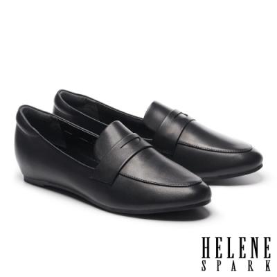 低跟鞋 HELENE SPARK 復刻經典全真皮內增高樂福低跟鞋-黑