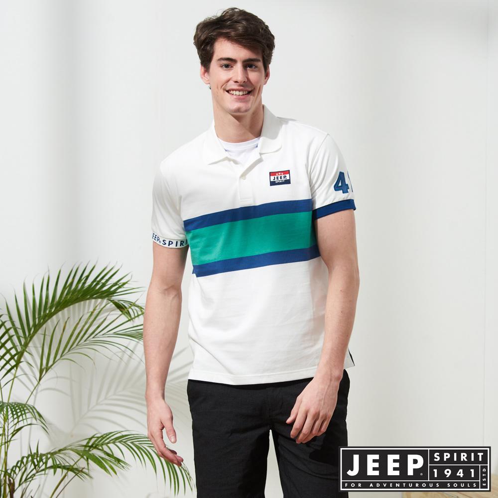 JEEP 造型拼接運動風短袖POLO衫-白色