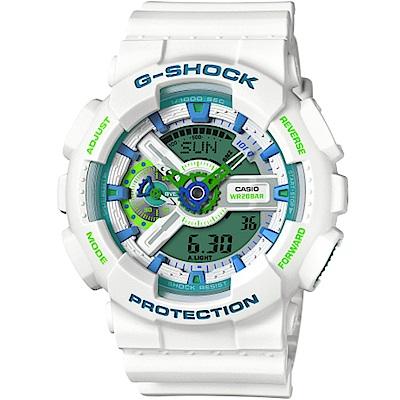G-SHOCK運動風潮再現春遊配色概念休閒錶(GA-110WG-7A)綠面X白51mm