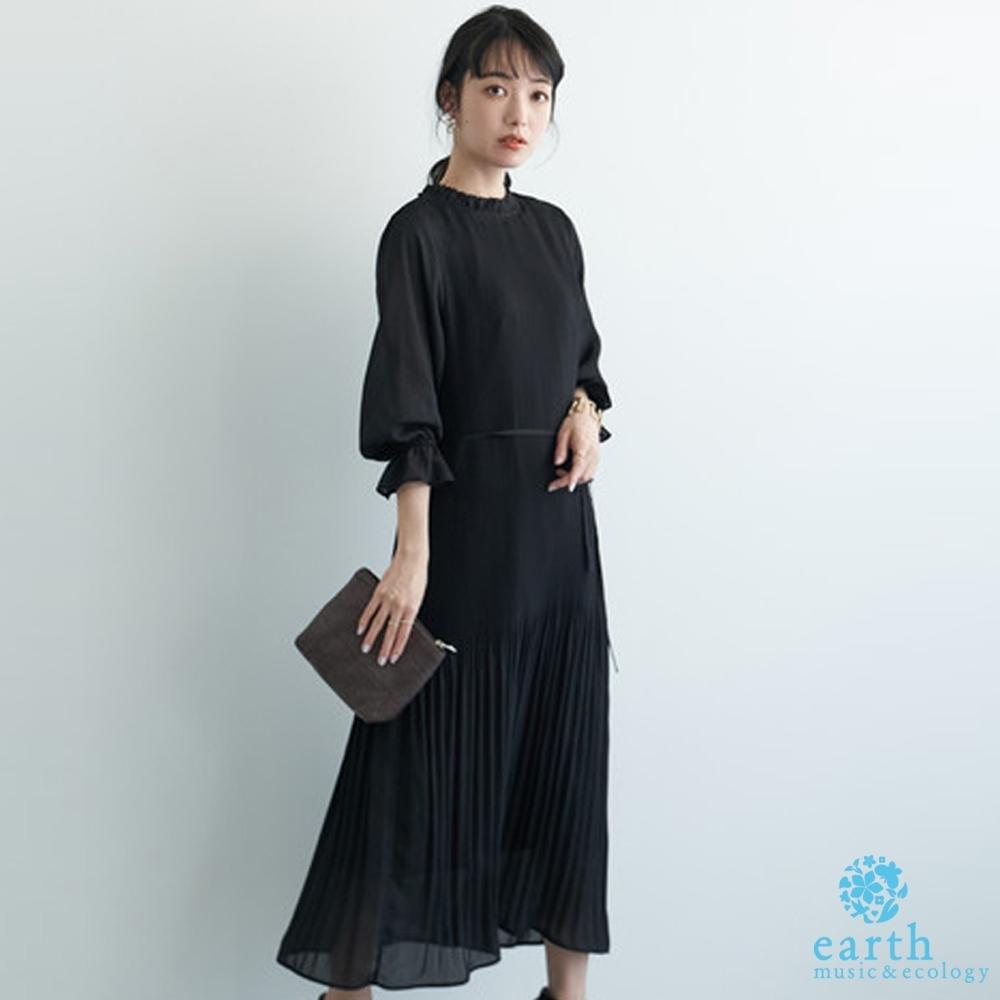 earth music 2WAY正反兩穿素面/點點百摺連身洋裝