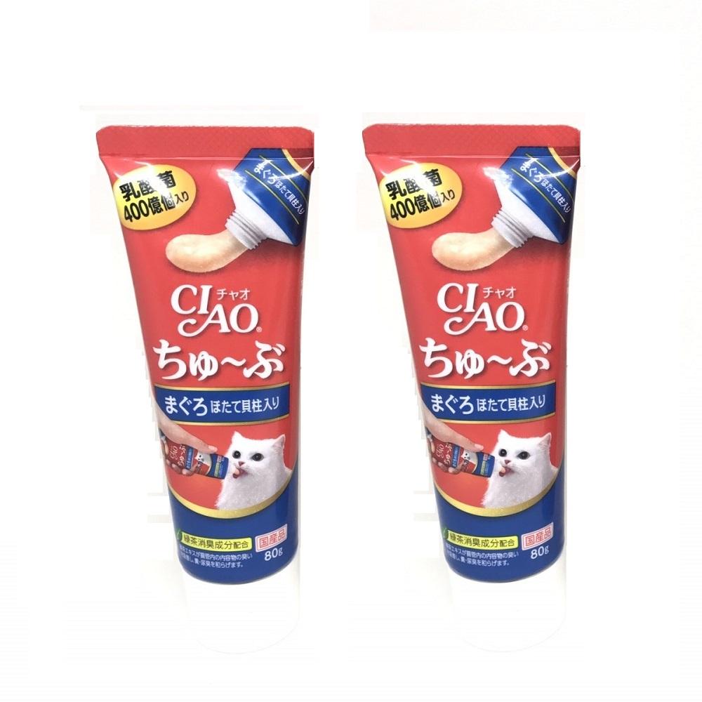 日本 CIAO 乳酸菌肉泥膏 CS-152 鮪魚干貝 80g x 2入