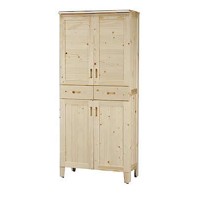 綠活居 德比瑞時尚3尺實木四門高鞋櫃/玄關櫃-90x36x180cm-免組