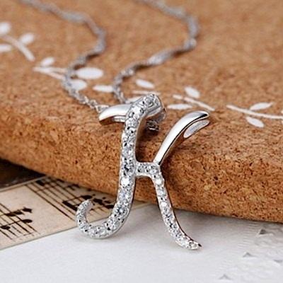 米蘭精品 925純銀項鍊-時尚簡約K英文字母