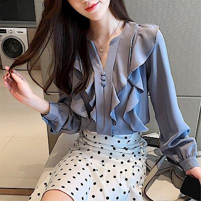 DABI 韓系V領波浪邊修身雪紡衫時尚小衫長袖上衣