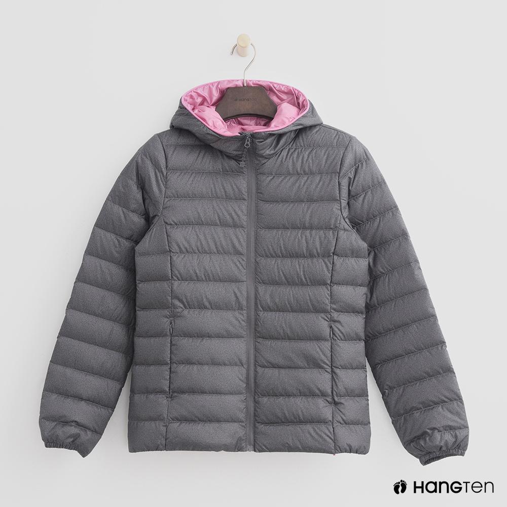 Hang Ten - 女裝 - ThermoContro-立領連帽輕羽絨外套-灰