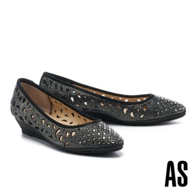 低跟鞋 AS 絢麗閃耀沖孔造型金蔥布尖頭楔型低跟鞋-黑