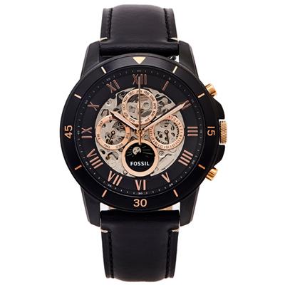 FOSSIL 三眼簍空款圓弧鏡面的機械手錶(ME3138)-黑面/44mm