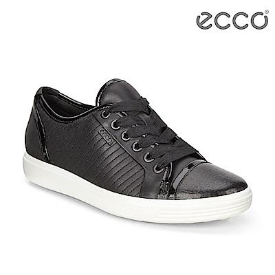 ECCO SOFT 7 LADIES 經典輕巧輕柔條紋休閒鞋 女-黑