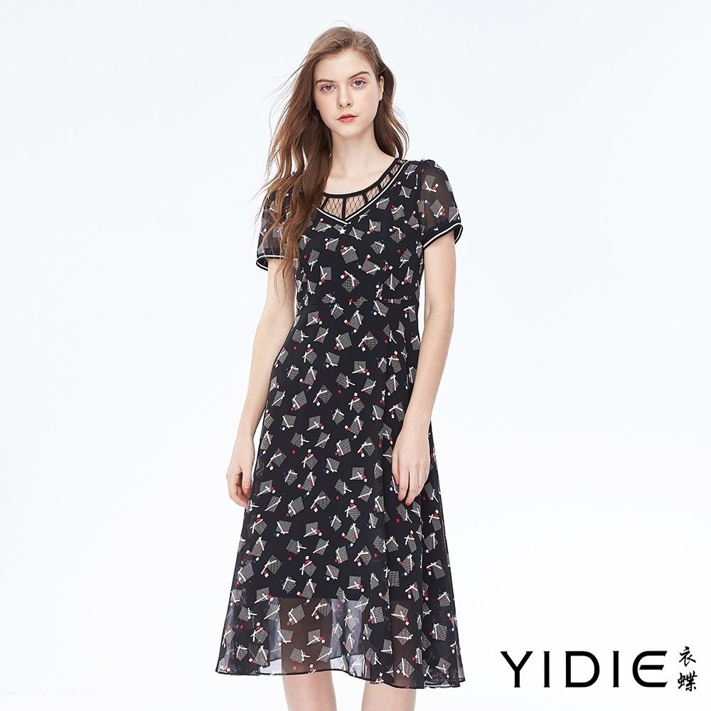 YIDIE衣蝶 假兩件幾何印花修身洋裝