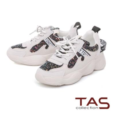 TAS 異材質撞色拼接厚底老爹鞋-星空黑