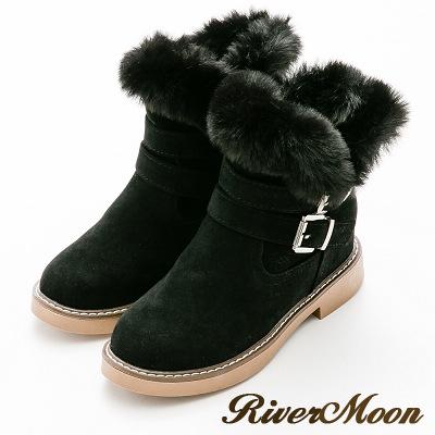 River&Moon內增高-顯瘦V型皮草扣環內增高短靴-黑
