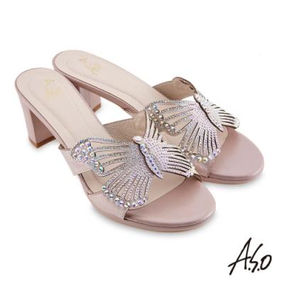 A.S.O 時尚流行 優雅時尚蝴蝶造型燙鑽涼拖鞋-粉紅