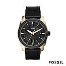 FOSSIL Machine 爵士都會時尚皮革手錶-男-黑/金