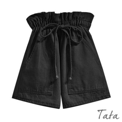 花苞鬆緊腰黑牛仔短褲 TATA-(M/L)