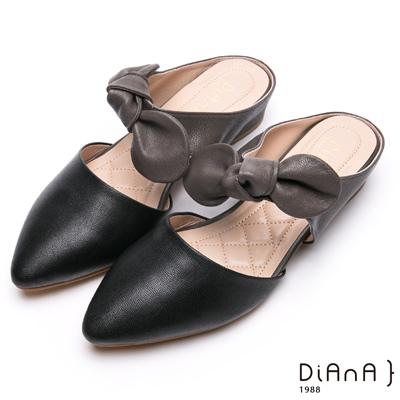 DIANA俏麗甜心-真皮大蝴蝶結穆勒跟鞋-黑x灰色